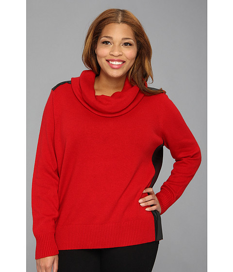 DKNYC - Plus Size L/S Cowl Neck Pullover w/ Faux Leather Panels (Haute Red) Women