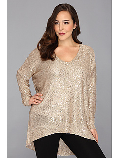SALE! $34.99 - Save $74 on DKNYC Plus Size L S Deep Scoop Neck Pullover w Sequins (Champagne) Apparel - 67.90% OFF $109.00
