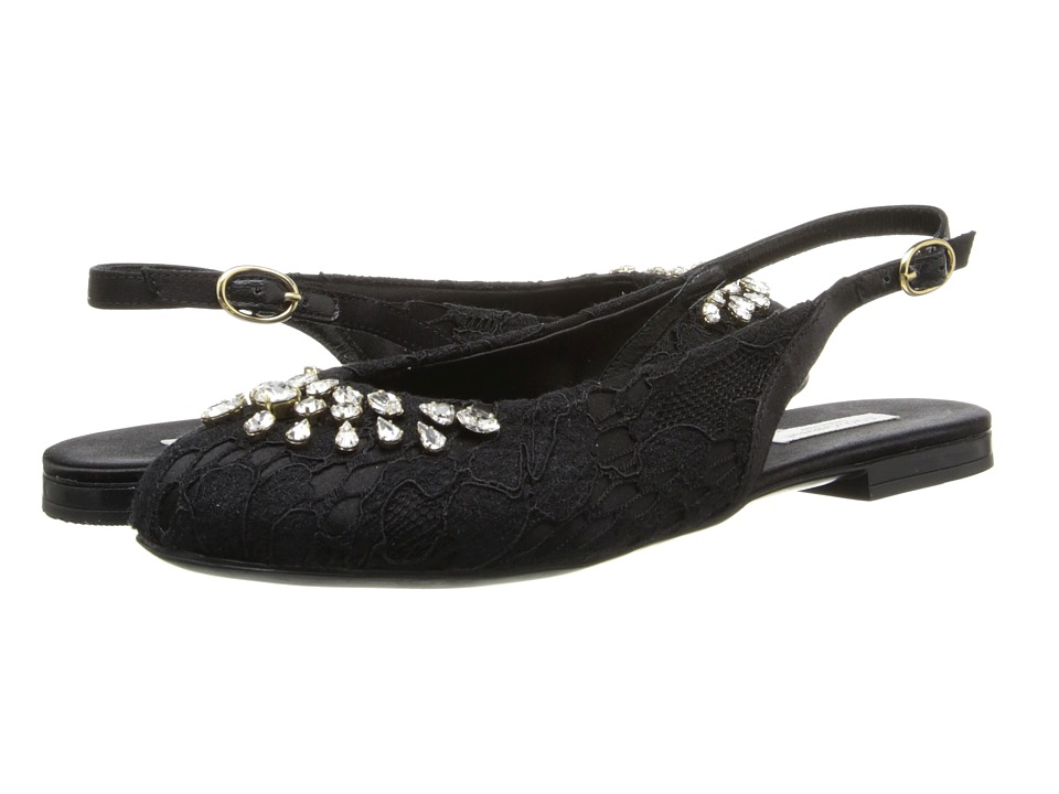 Dolce & Gabbana Kids - Lace Satin Slingback (Little Kid/Big Kid) (Black) Girl's Shoes