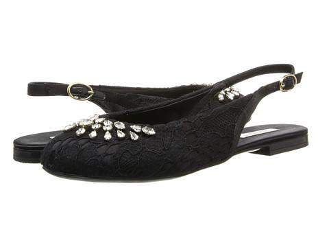 Dolce & Gabbana - Lace Satin Slingback (Little Kid/Big Kid) (Black) Women's Shoes