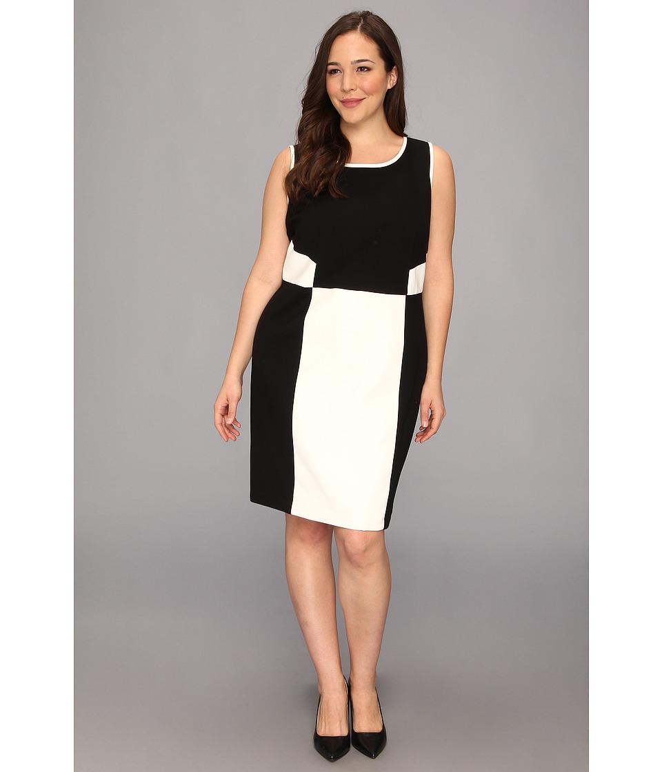 DKNYC Plus Size Sleeveless Dress w/ Faux Leather Trim Womens Dress (Black)