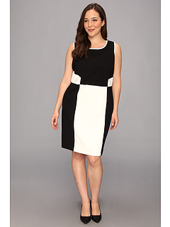 SALE! $46.99 - Save $82 on DKNYC Plus Size Sleeveless Dress w Faux Leather Trim (Black) Apparel - 63.57% OFF $129.00