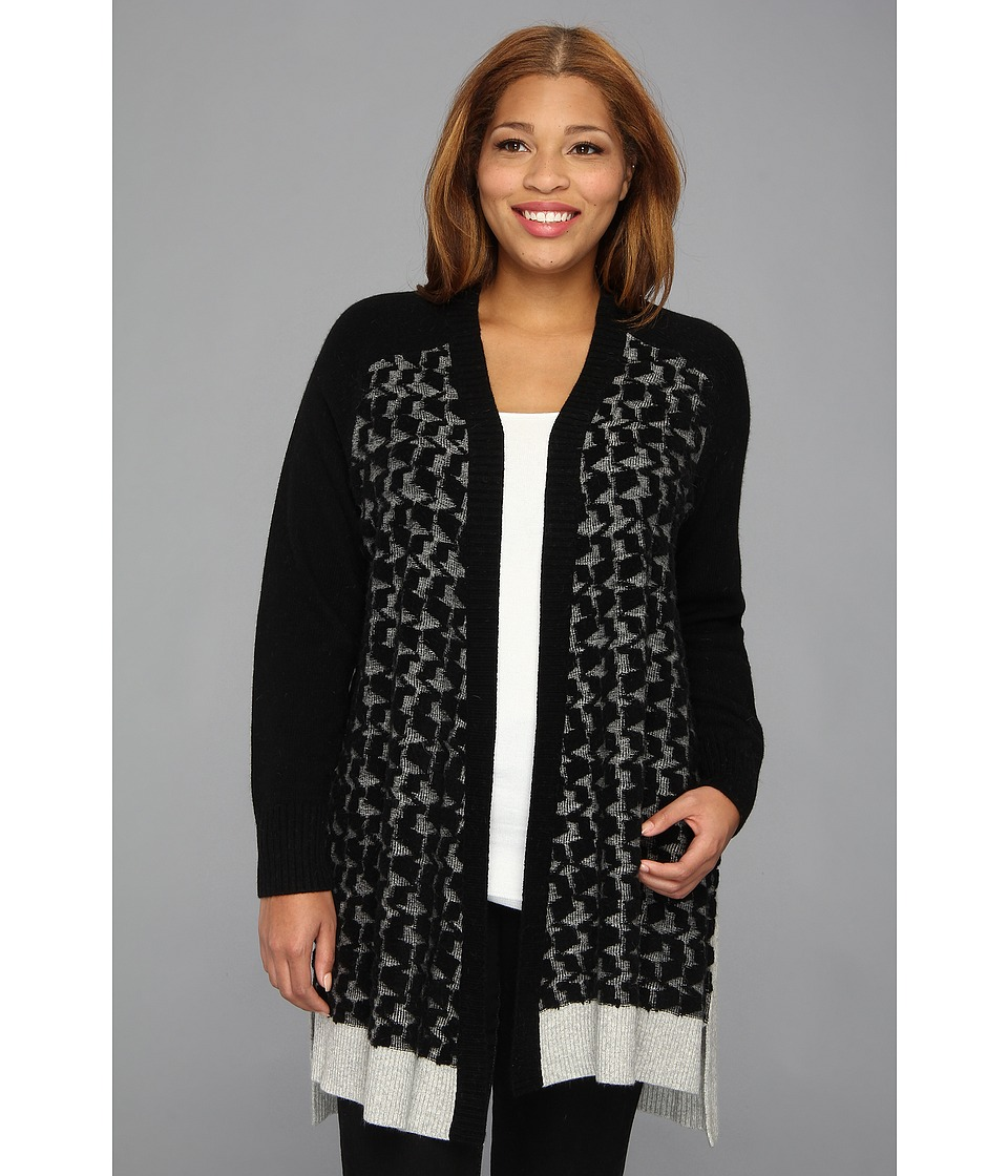 DKNYC - Plus Size L/S Open Front Houndstooth Cardigan (Black) Women's Sweater