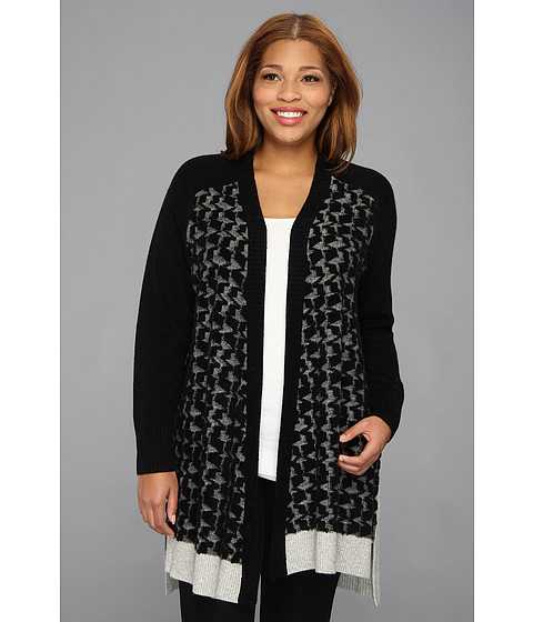 DKNYC - Plus Size L/S Open Front Houndstooth Cardigan (Black) Women