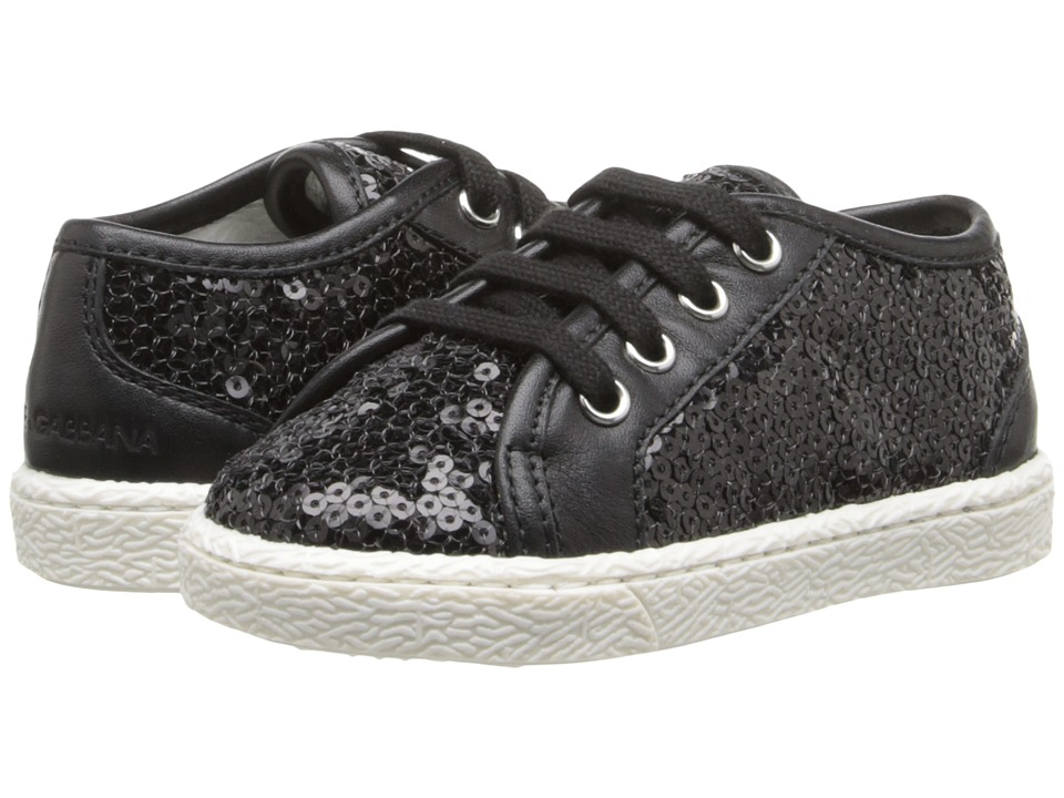 Dolce & Gabbana - Sequin Low Top Trainer (Toddler) (Black) Women's Shoes