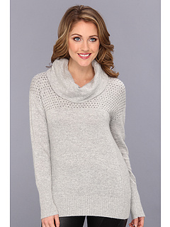 SALE! $49.99 - Save $49 on DKNYC L S Cowl Neck Pullover w Stud Accents (Light Heather Grey) Apparel - 49.51% OFF $99.00