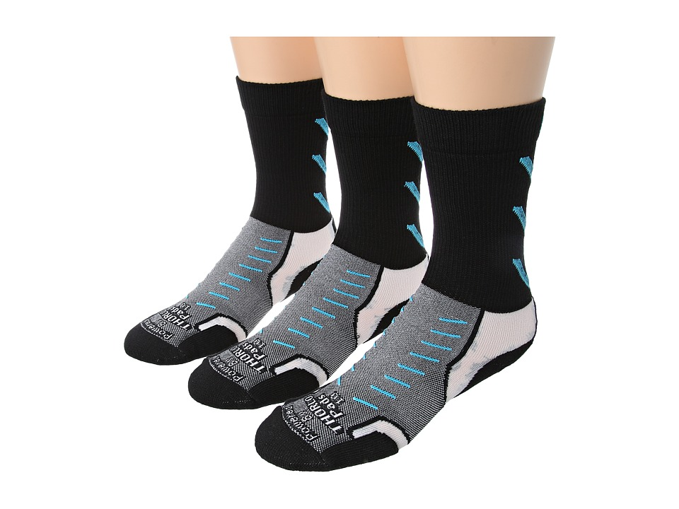 Thorlos - Experia Jet Crew 3 Pair Pack (Jet Turquoise) Crew Cut Socks Shoes