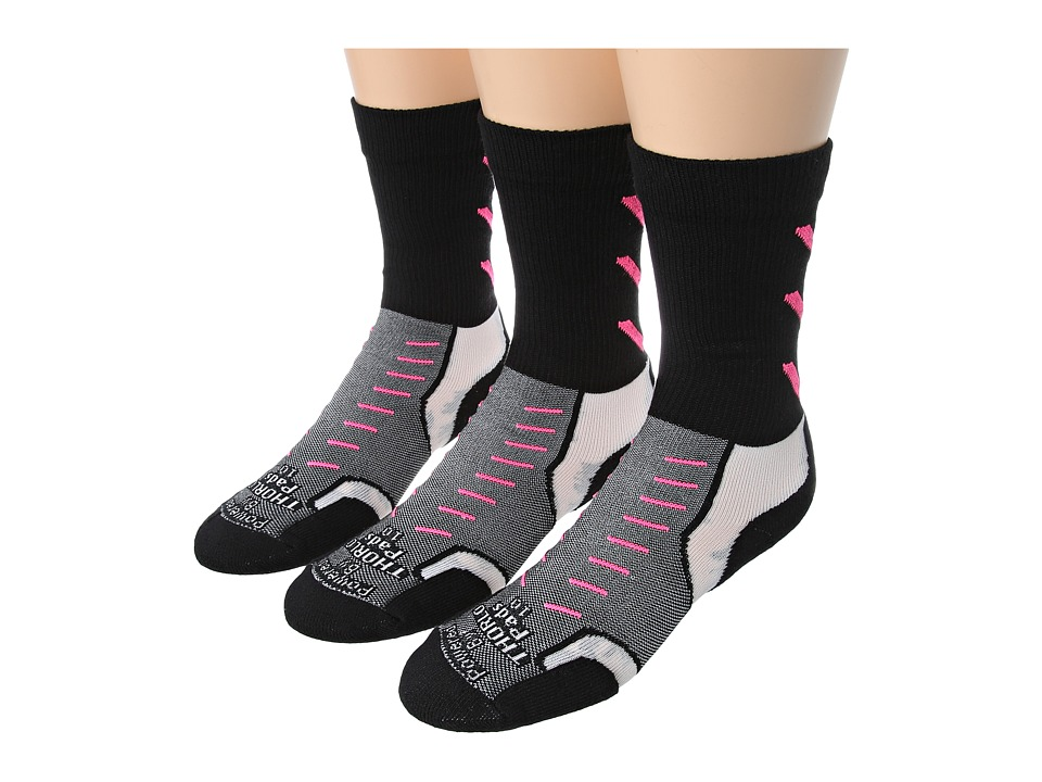 Thorlos - Experia Jet Crew 3 Pair Pack (Jet Pink) Crew Cut Socks Shoes