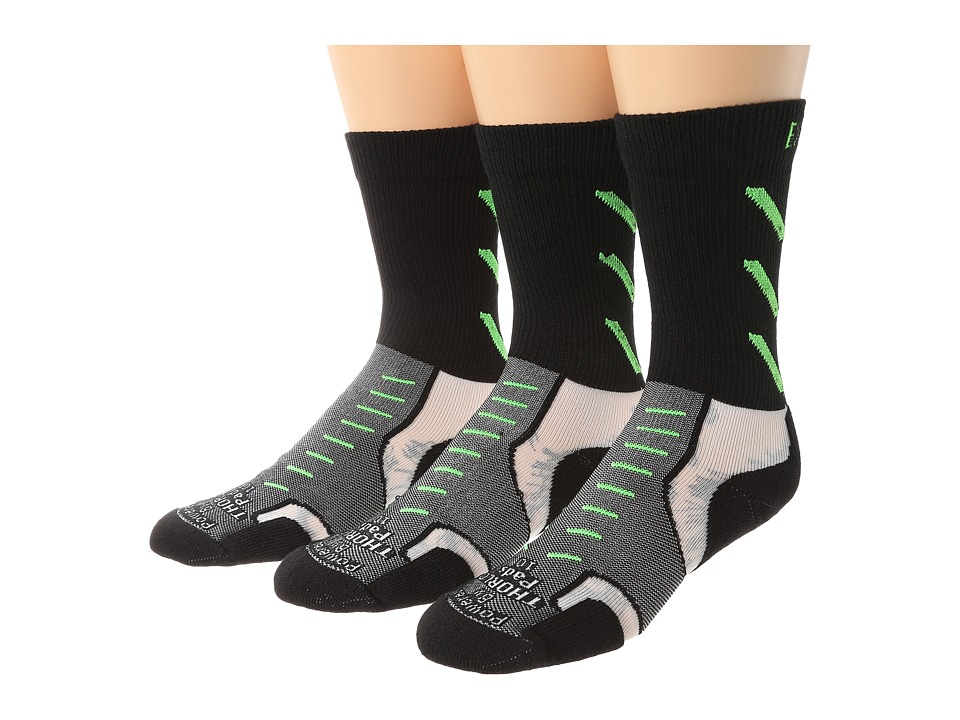 Thorlos - Experia Jet Crew 3 Pair Pack (Jet Green) Crew Cut Socks Shoes
