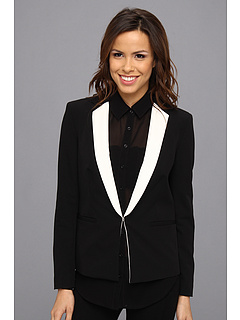 SALE! $84.99 - Save $84 on DKNYC Long Sleeve Notched Collar Blazer w Contrast Lapel (Black) Apparel - 49.71% OFF $169.00