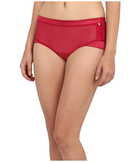 Emporio Armani - Tempting Gift Mesh Lace And Satin Boyshort (Ruby) Women