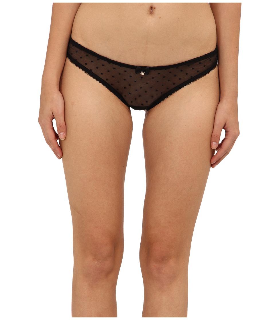 Emporio Armani - Coquette Dotted Mesh Thong (Black) Women's Underwear