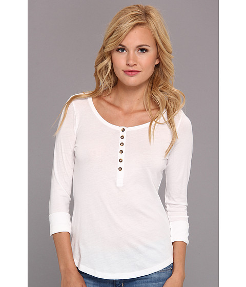 Alternative - Rolled Sleeve Side Slit Henley (White) Women's T Shirt