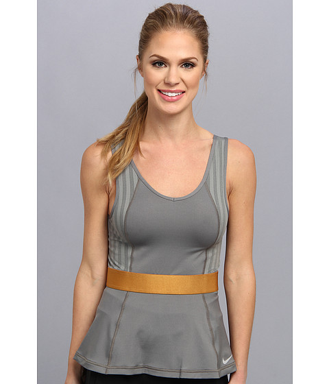 Nike - Novelty Tank Top (Medium Base Grey/Medium Base Grey/Metallic Bronze) Women's Sleeveless