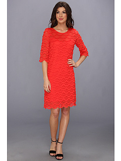 SALE! $57.99 - Save $31 on Jessica Howard 3 4 Sleeve Scoop Neck Eyelash Dress (Orange) Apparel - 34.84% OFF $89.00