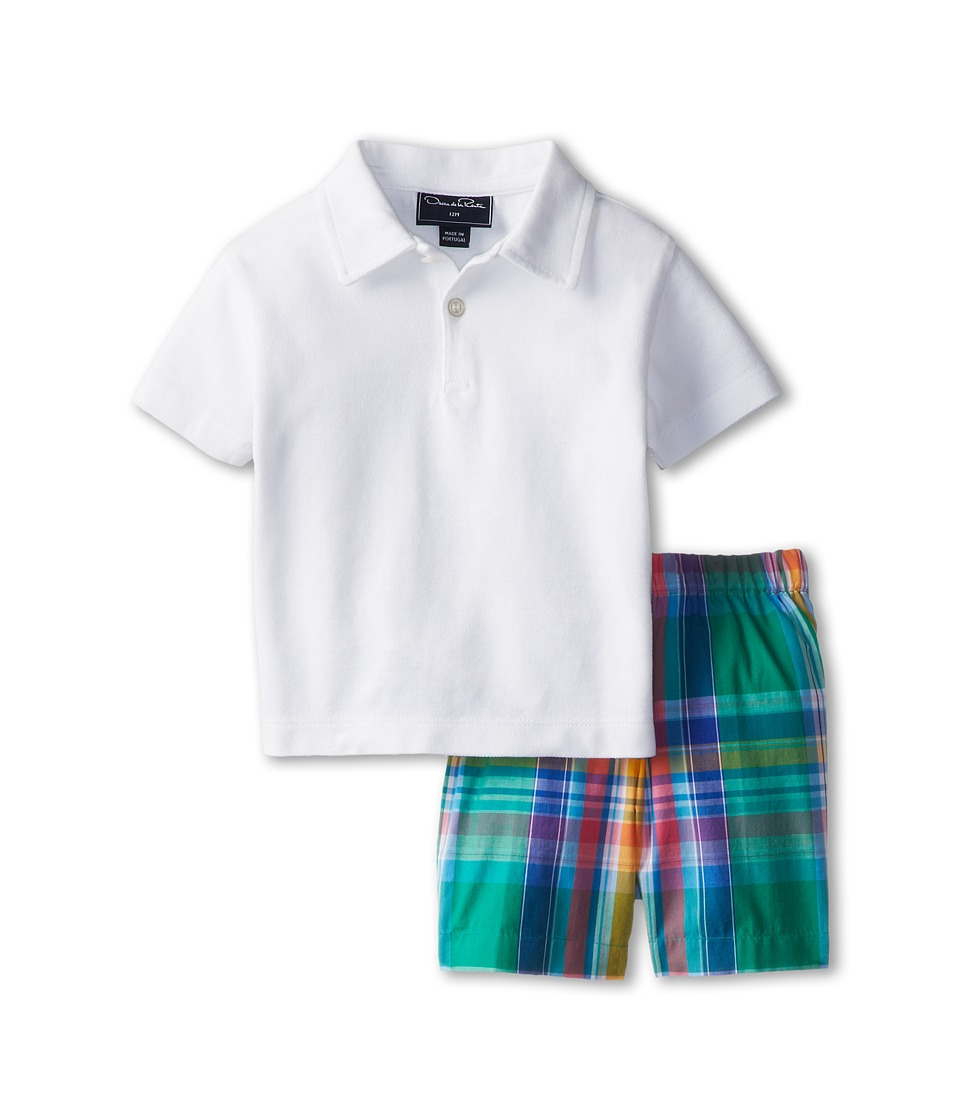 Oscar de la Renta Childrenswear - Pique Polo and Madras Short Set (Infant) (Kelly Multi) Boy's Active Sets