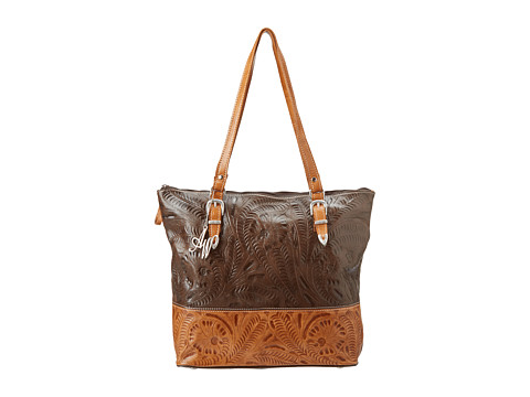 American West - Uptown Girl Laptop Tote (Chocolate/Tan) Tote Handbags