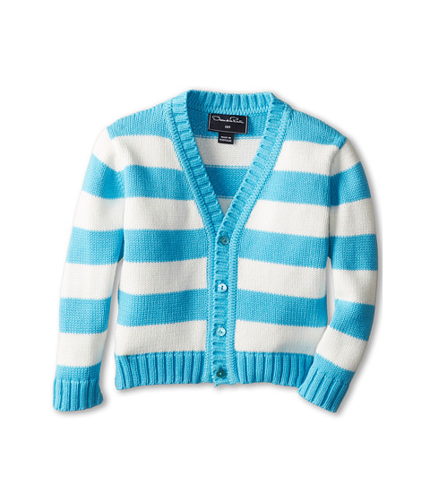 Oscar de la Renta Childrenswear - Cotton Stripe Cardigan (Infant) (Turquoise White) Boy's Sweater