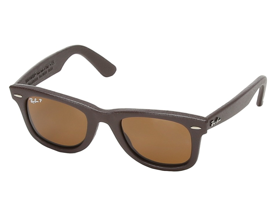Ray-Ban - RB2140 Leather-Wrapped Wayfarer Polarized 50mm (Brown Leather) Fashion Sunglasses