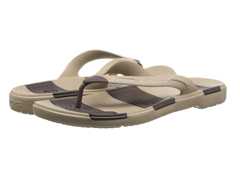 Crocs - Beach Line Flip (Tumbleweed/Espresso) Sandals