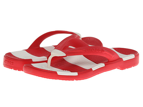 Crocs - Beach Line Flip (Red/White) Sandals