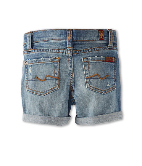 7 For All Mankind Kids - Mid-Roll Short in Light Destroyed (Big Kids) (Light Destroyed) Girl's Shorts