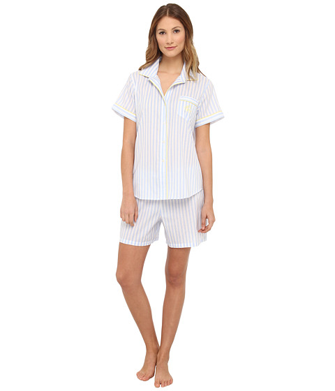 LAUREN by Ralph Lauren - Pink Sands S/S Boxer PJ Set (Caldwell Stripe Blue) Women