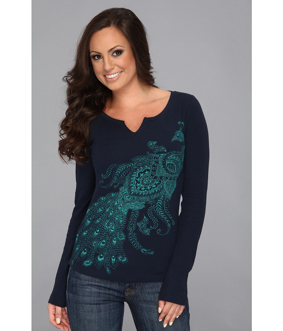 Lucky Brand Paisely Peacock Thermal Womens Long Sleeve Pullover (Navy)