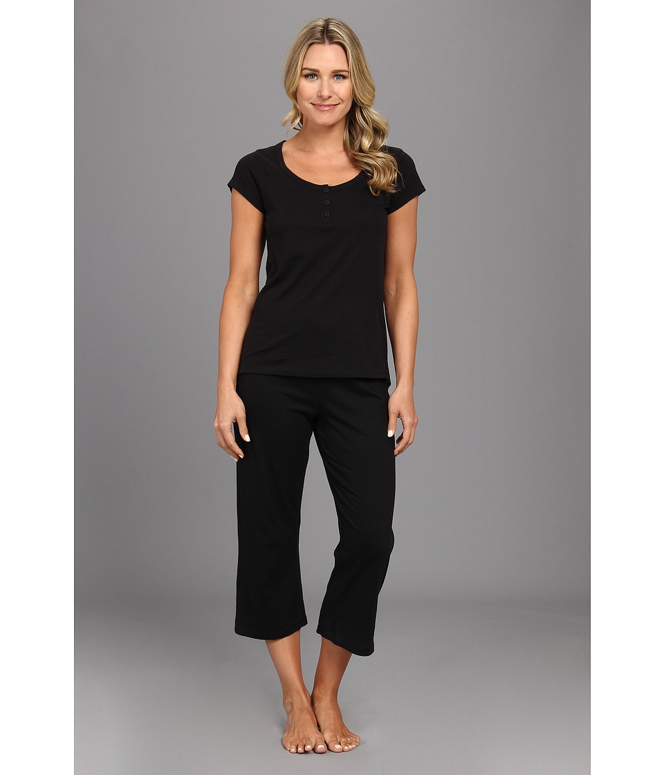 Kenneth Cole Reaction Fundamental Henley Capri Set Womens Pajama Sets (Black)