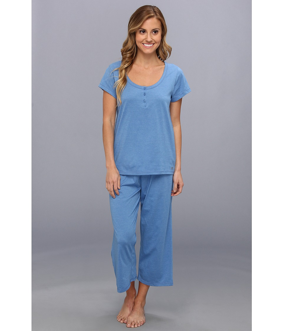 Kenneth Cole Reaction Fundamental Henley Capri Set Womens Pajama Sets (Blue)