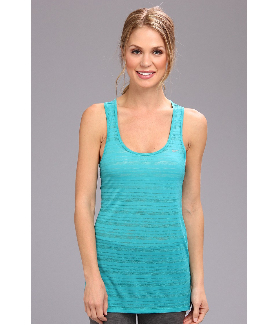 Nike - Dri-Fit Touch Breeze Stripe Tank Top (Turbo Green/Reflective Silver) Women's Sleeveless