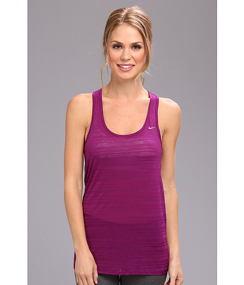 Nike - Dri-Fit Touch Breeze Stripe Tank Top (Bright Grape/Reflective Silver) Women's Sleeveless