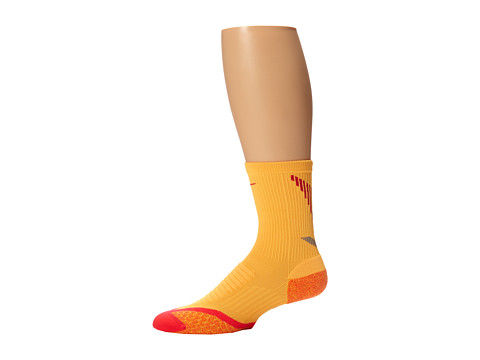 Nike - Elite Running Cushion Crew (Atomic Mango/Laser Crimson/Legion Red) Crew Cut Socks Shoes