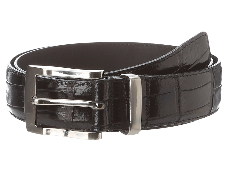 Florsheim - Croc Embossed Leather Belt (Black) Men's Belts