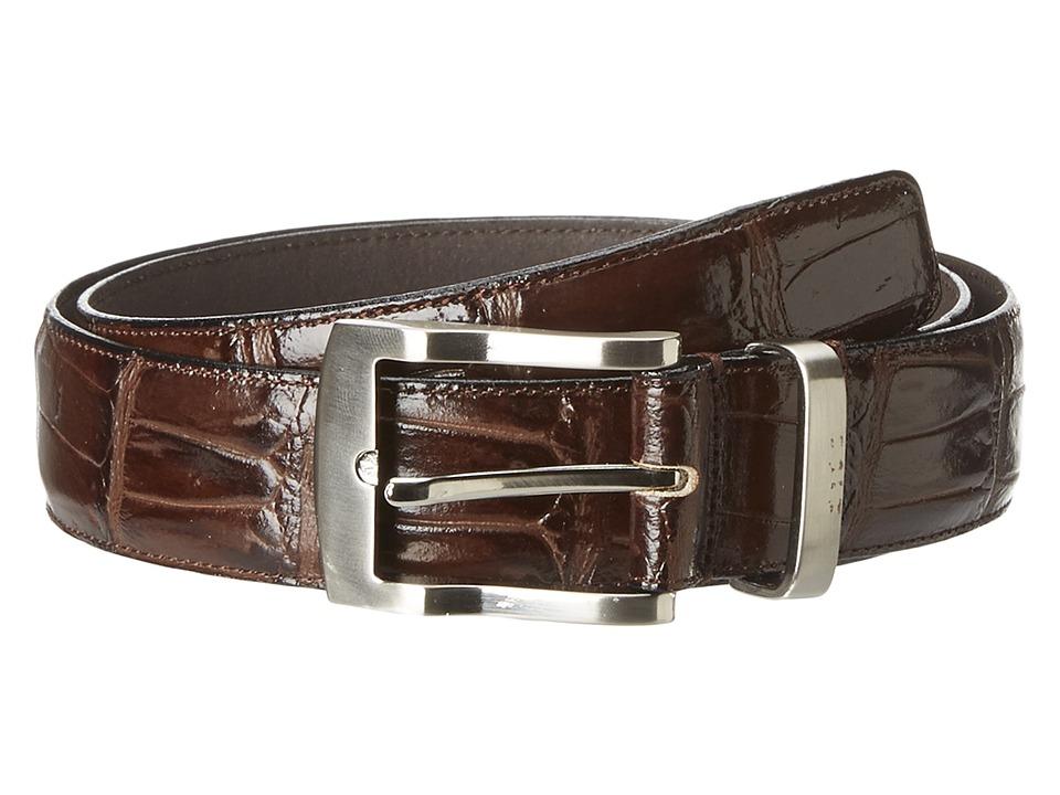 Florsheim - Croc Embossed Leather Belt (Brown) Men's Belts