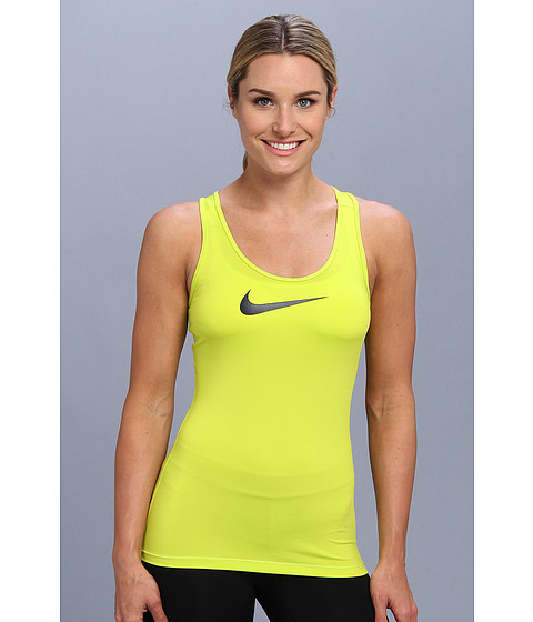 Nike - Pro Tank (Venom Green/Obsidian) Women's Sleeveless