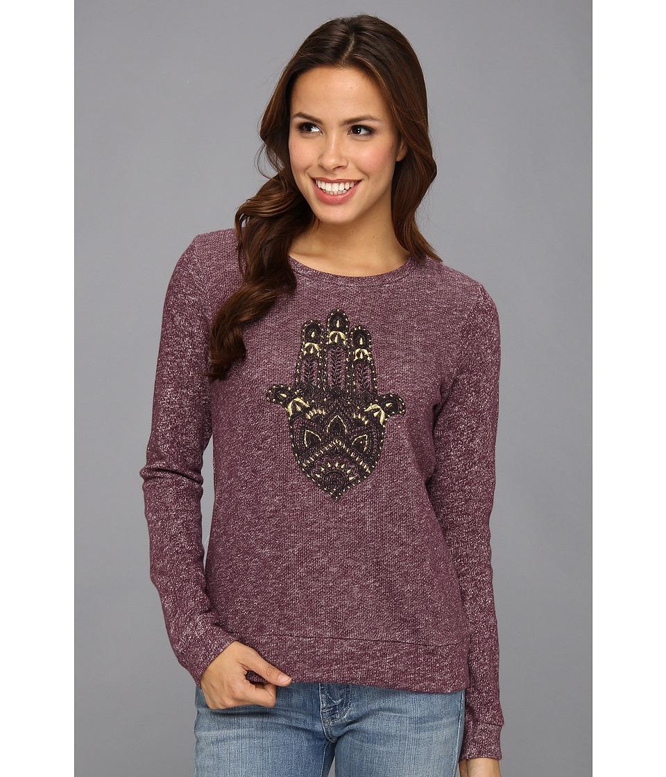 Lucky Brand Hamsa Hand Pullover Womens Long Sleeve Pullover (Purple)