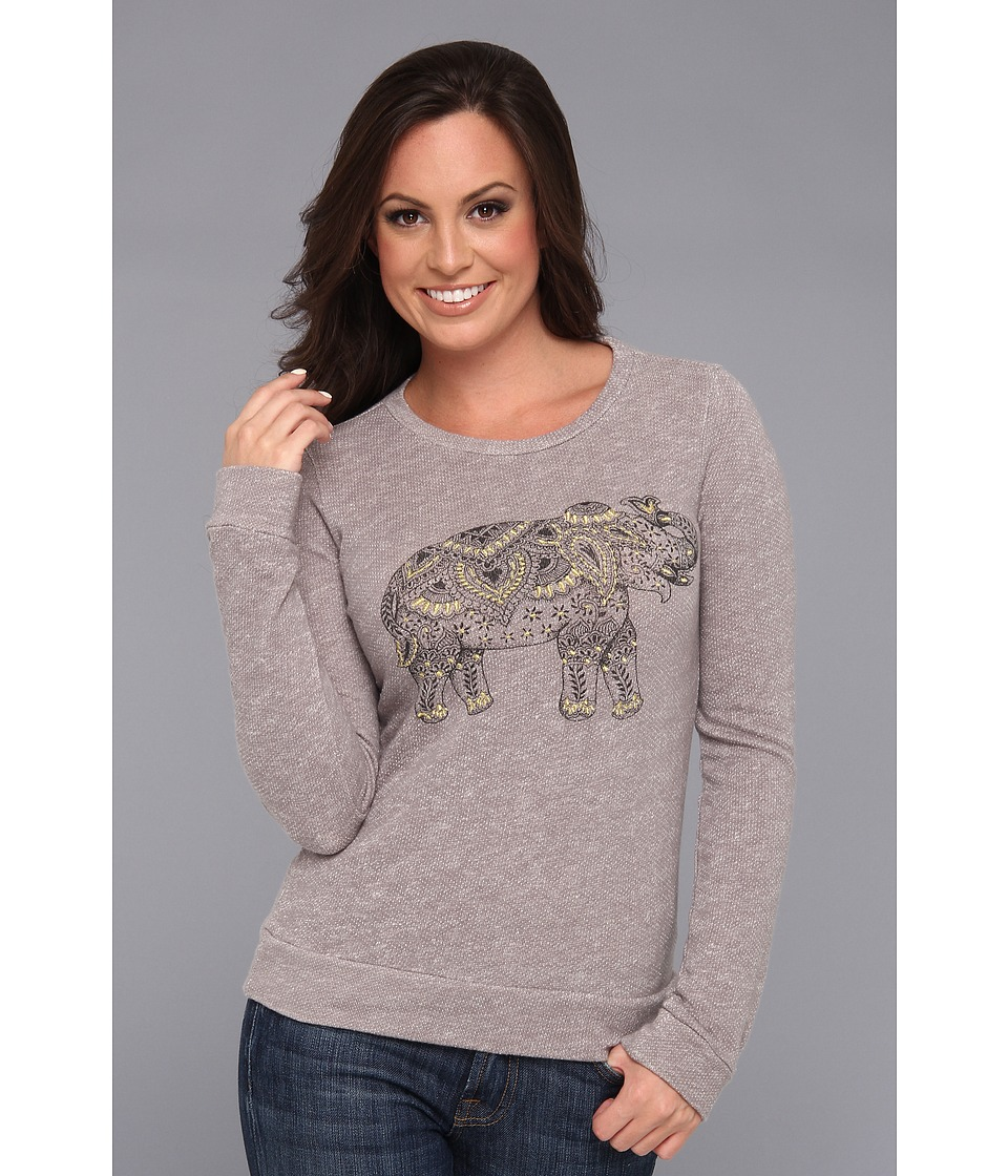 Lucky Brand Elephant Emb Pullover Womens Long Sleeve Pullover (Gray)