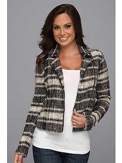 SALE! $64.99 - Save $74 on Lucky Brand Plaid Moto Sweater Jacket (Black White) Apparel - 53.24% OFF $139.00