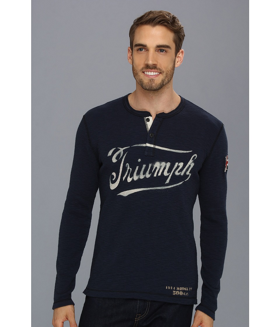 Lucky Brand Triumph Graphic Henley Mens Long Sleeve Pullover (Navy)