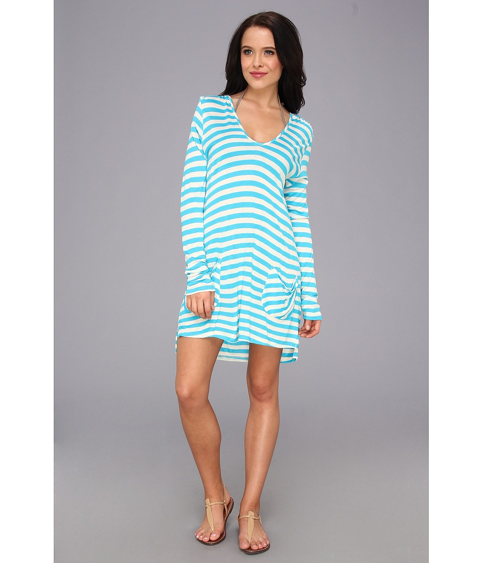 Ella Moss - Solids Cover Up Hooded Tunic (Blue) Women's Swimwear
