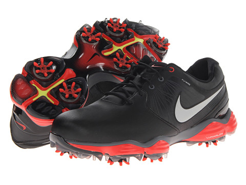 Nike Golf - Lunar Control II (Black/Reflective Silver/Light Crimson) Men's Golf Shoes