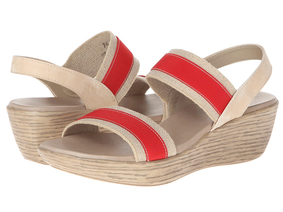 Munro - Reed (Red/Natural Fabric) Women's Wedge Shoes