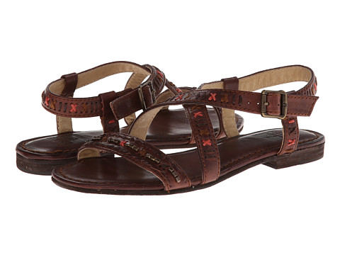 Frye - Carson Boho Criss Cross (Brown Tumbled Full Grain) Women