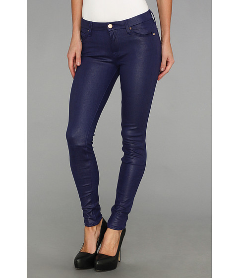 7 For All Mankind - Knee Seam Skinny w/ Contoured Waistband in Capri Blue Crackle (Capri Blue Crackle) Women's Jeans