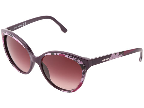 Diesel - DL0009 (Wine Pink Fuchsia/Brown Burgundy Shaded) Fashion Sunglasses