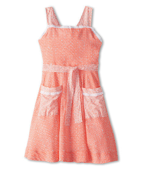 Oscar de la Renta Childrenswear - Geo Print Wrap Dress (Toddler/Little Kids/Big Kids) (Coral) Girl