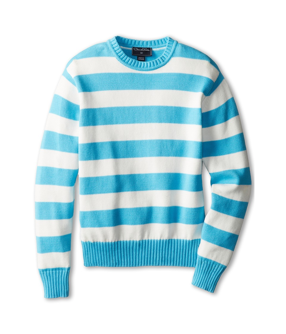 Oscar de la Renta Childrenswear - Cotton Stripe Crew Neck Pullover (Toddler/Little Kids/Big Kids) (Turquoise White) Boy's Sweater