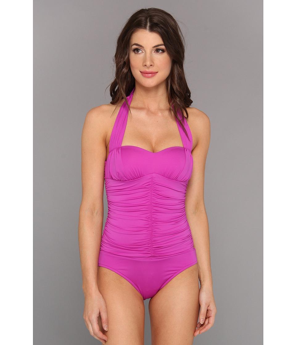 Badgley Mischka - Solids Shirred Halter Maillot (Purple) Women