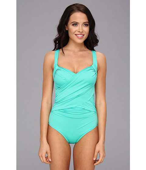 Badgley Mischka - Solids Adjustable Draped Front Maillot (Mint) Women